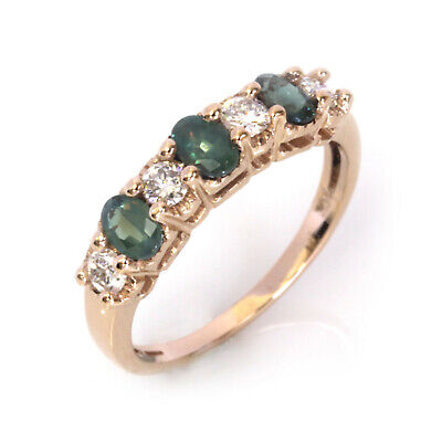 1 ct tw Natural Real Alexandrite & Diamond Solid 14k Rose Gold 7 Stone Ring