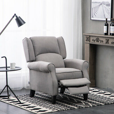 Antiqued Fabric Wingback Chair Armchair Recliner Reclining Function Sofa in Grey