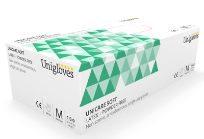 Box 100 200 Unigloves Latex Disposable Gloves Lighty Powdered | Powder Free