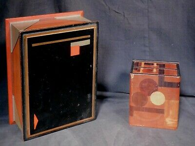 2 Vintage Modern Art Deco Box Chest Drawers Inlaid Polychrome Paint JAPAN Frankl