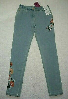 BNWT Girls Smart Light Blue Skinny Leg Floral Embroidered Jeans 11 years 146cm