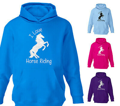 Childrens Glitter I Love Horse Riding Hoodie Pony School Hoody Jumper Girls Gift