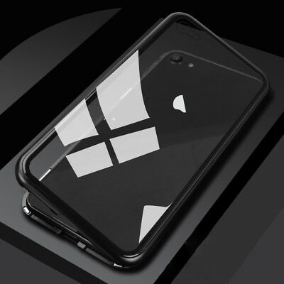 c5a276e9e8d Luxury Magnetic Metal Frame Tempered Glass Back Cover Case For iPhone X 7 8  Plus