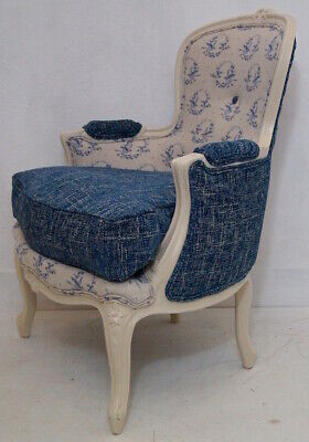 Vintage French Louis XV Bergere Armchair in Peony & Sage 'Birdsong' / Blue Linen