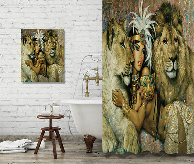 African Women & Lions Pattern Shower Curtain Waterpoof Bathroom Decor & Painting