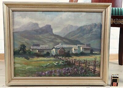 Heinrich Ketnath 1892-1964 Oil Painting Antique 1922 South Tyrol Homestead