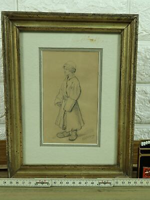 Wilhelm Amandus Beer Drawing Antique Young Soldier Russia? Russian? Soldier
