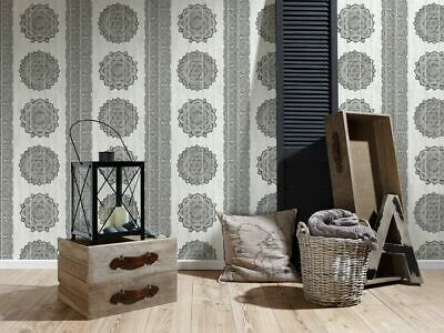 As Creation Paisley Print Textured Floral Faux Wood Panel Wallpaper 364621