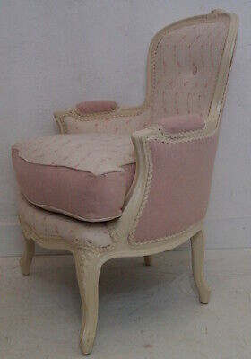 Vintage French Louis XV Bergere Armchair in Peony & Sage Georgian Trellis Linen