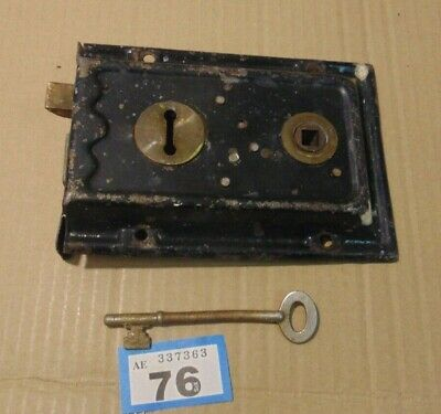 Antique  Brass And Steel Duel Handled Rim Door Lock  With Key 76