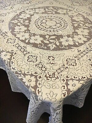 Pretty Soft White Vintage Tablecloth 124cm Square Floral Lace