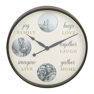 Hometime 3 Photo 31cm Wall Clock Family or Pets Memory Clock Ideal Gift