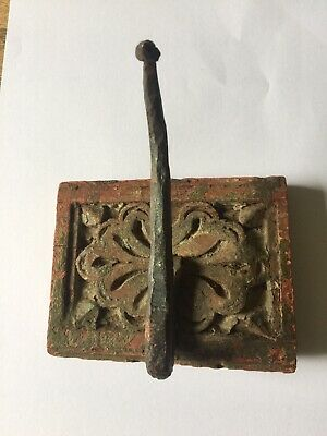 Vintage Antique old wooden hand carved coat hook printing block