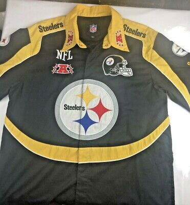 best service e0d5d 4d516 NFL PITTSBURGH STEELERS Vintage 90s Snap Button Up Bowling Shirt Patch's  XL!!