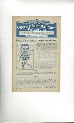 QPR v Newport County Football Programme 1947/48