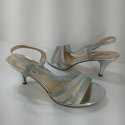 bbdf8c6ffeb NINA SANDALS WOMENS 8.5 Sparkle Silver Leather Pumps Strappy Heels
