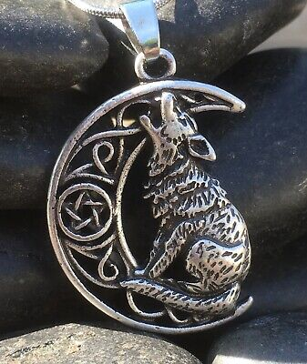 Silver Plate Celtic Viking Howling Wolf Pendant Necklace