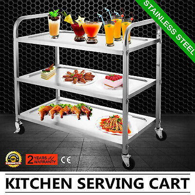 """3 Shelf Stainless Steel Catering Serving Trolley Cart Dolly Cart 17""""X35"""" Plate"""