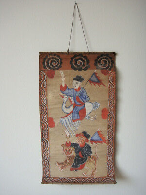antique Yao Ceremonial Painting, 19th C., Taoist Mien tribal religious art
