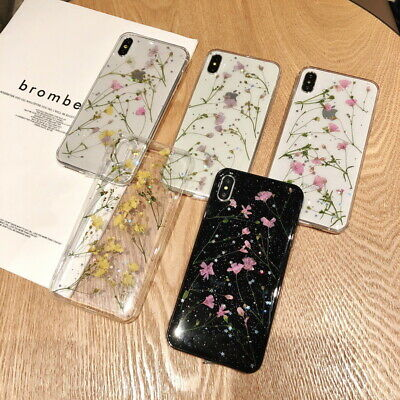 Real Dried Flowers Pattern Clear Soft Case Cover For iPhone XS Max XR 8 7 6 Plus