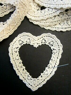 """3 1/2"""" **OPEN HEART**VINTAGE INSPIRED** Applique (12 pc)   IVORY  *****LOT*****"""