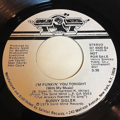 Bunny Sigler: I'm Funkin' You Tonight (With My Music) / Glad To Be 45  Soul Funk