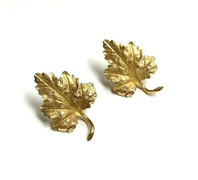 Diamond Gold Sheets 14k Yellow Gold Vintage earrings 6.5 grams