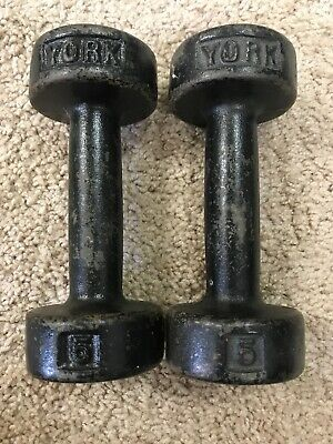 Two Vintage York Cast Iron 5lbs/Pound Round Head Dumbbell/ Hand Weights-Cool!