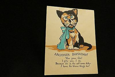 Vintage Kitten Another Birthday Card 1920S By Buzza