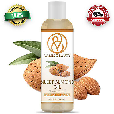 Sweet Almond Oil 4 oz - 100% Pure & Natural Carrier Cold Pressed For Skin & Hair