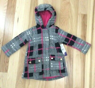 fcd13b2f06e NWT MADDEN GIRL'S Toddler Grey Pink Black White Plaid Pea Coat Sz 3T