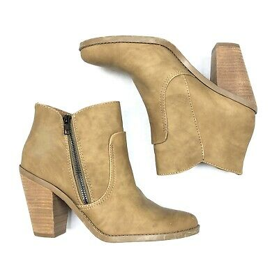 88c76f131 Dolce Vita Women's Ankle Boots Booties Tan Size 8.5 Block Heel Side Zipper