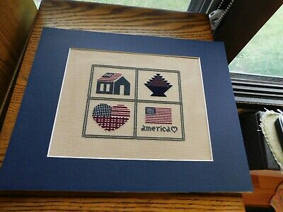 America USA Flag Cross Stitch Sampler Panel COMPLETED Handmade