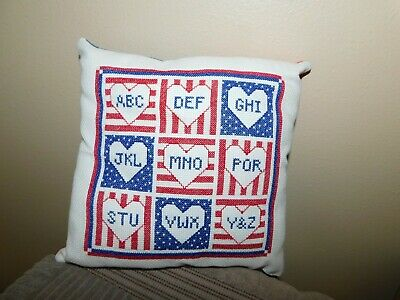 ABC Sampler Cross Stitch Pillow COMPLETED Handmade Red White and Blue