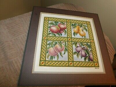 Fruit Sampler Cross Stitch Panel COMPLETED Handmade