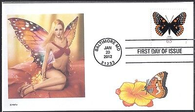 SEXY  BLONDE  GIRL  BUTTERFLY      FDC- DWc CACHET