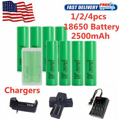 1/2/4 Pc 18650 for Samsung- 2500mAh 35A Rechargeable Battery Vape Mods Free Case