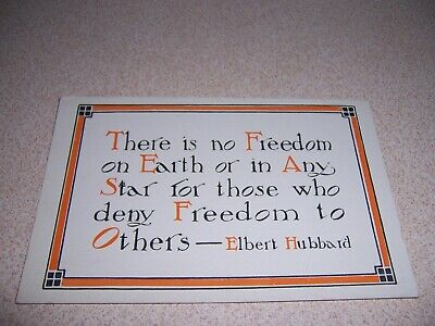"""1898 """"FREEDOM"""" MOTTO by ELBERT HUBBARD, PRIVATE MAILING CARD - POSTCARD"""
