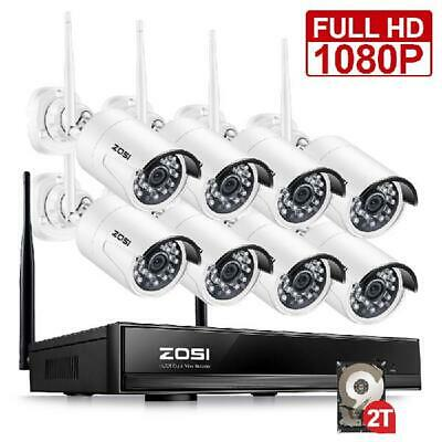 Zosi Full 1080P Wifi Wireless Security System 8Ch 1080P Nvr 2Tb Hdd With 8 2Mp O