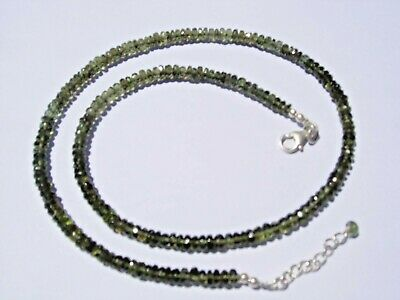 66.5 carats of nice checkered cut beads 4.5 x 2mm MOLDAVITE necklace 18 inches