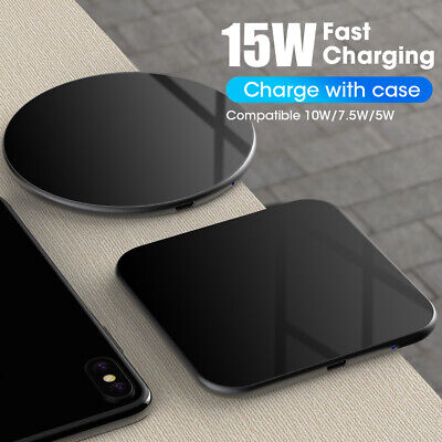 15W Qi Wireless Fast Charger Charging Docking Station Pad for Samsung S10 Xiaomi