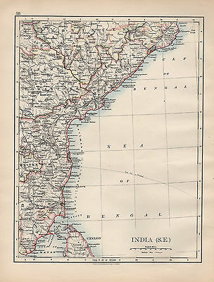 1898 Victorian Map ~ India South East ~ Madras