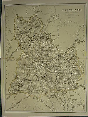 1875 Antique Wales Welsh County Map ~ Brecknock Swydd Frycheiniog Builth Hay