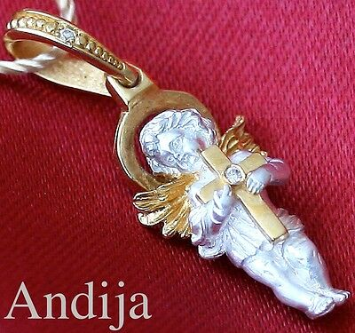 Baby Guardian Angel Protective Pendant Charm Russian Orthodox Silver+999 Gold