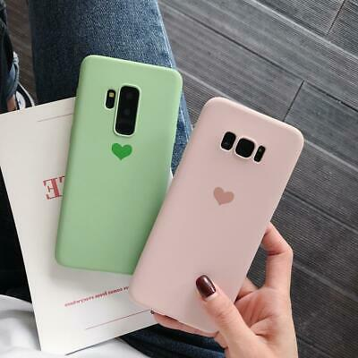Matte Heart Rubber Soft Case Cover For Samsung Galaxy S10 Plus S9 S8 S7 Note 8