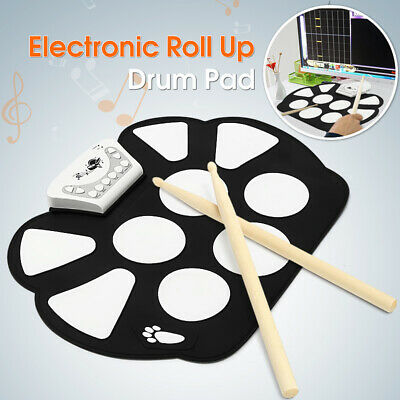 USB Electronic Foldable Roll Up Drum 9 Silicon Pad Kit Silicon w/ Stick Kid Gift
