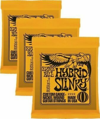 3 Sets Ernie Ball 2222 Hybrid Slinky Nickel Wound Guitar Strings .009-046