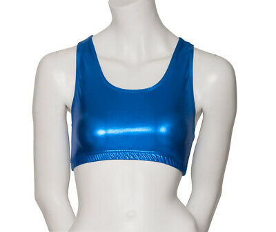 Royal Blue Shiny Metallic Dance Racer Back Crop Top Katz Dancwear KCTM-5 SECONDS