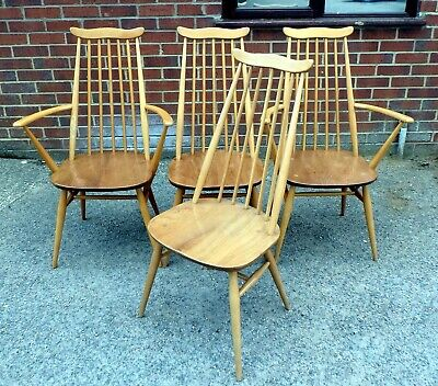 Set 4 vintage 1960s original Ercol Goldsmith solid elm dining kitchen chairs