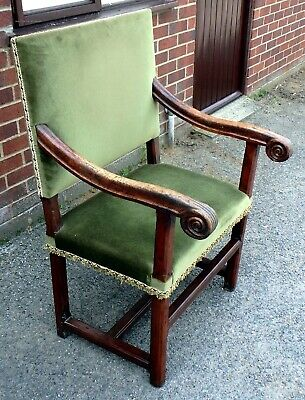 17th century antique French country solid carved walnut throne carver armchair